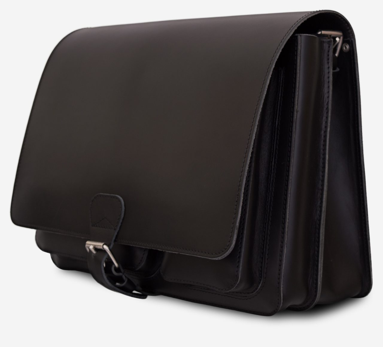 Side view of black leather messenger bag with 2 compartments and asymmetric front pockets - 112537.