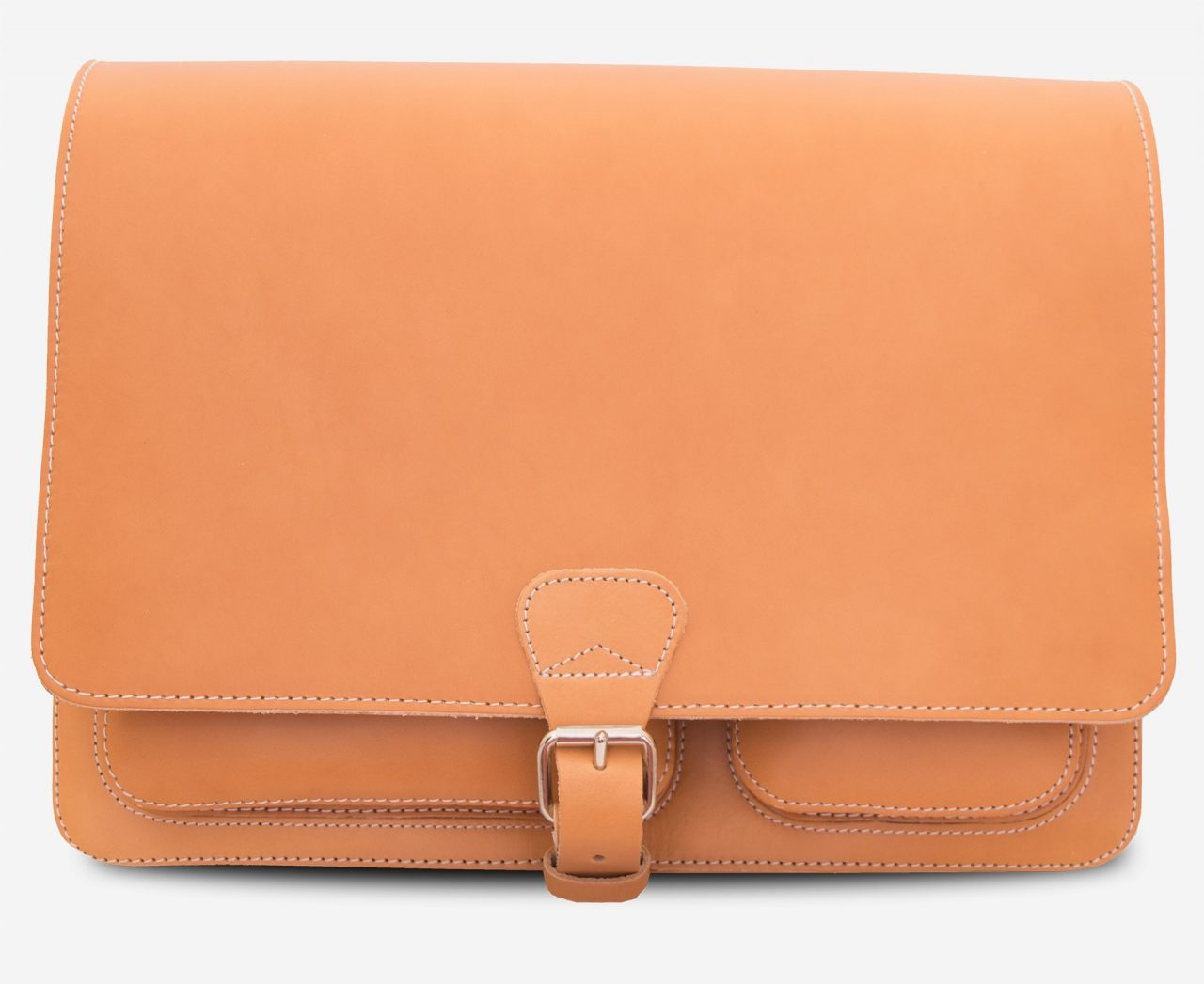 Front view of the tan leather messenger shoulder bag.