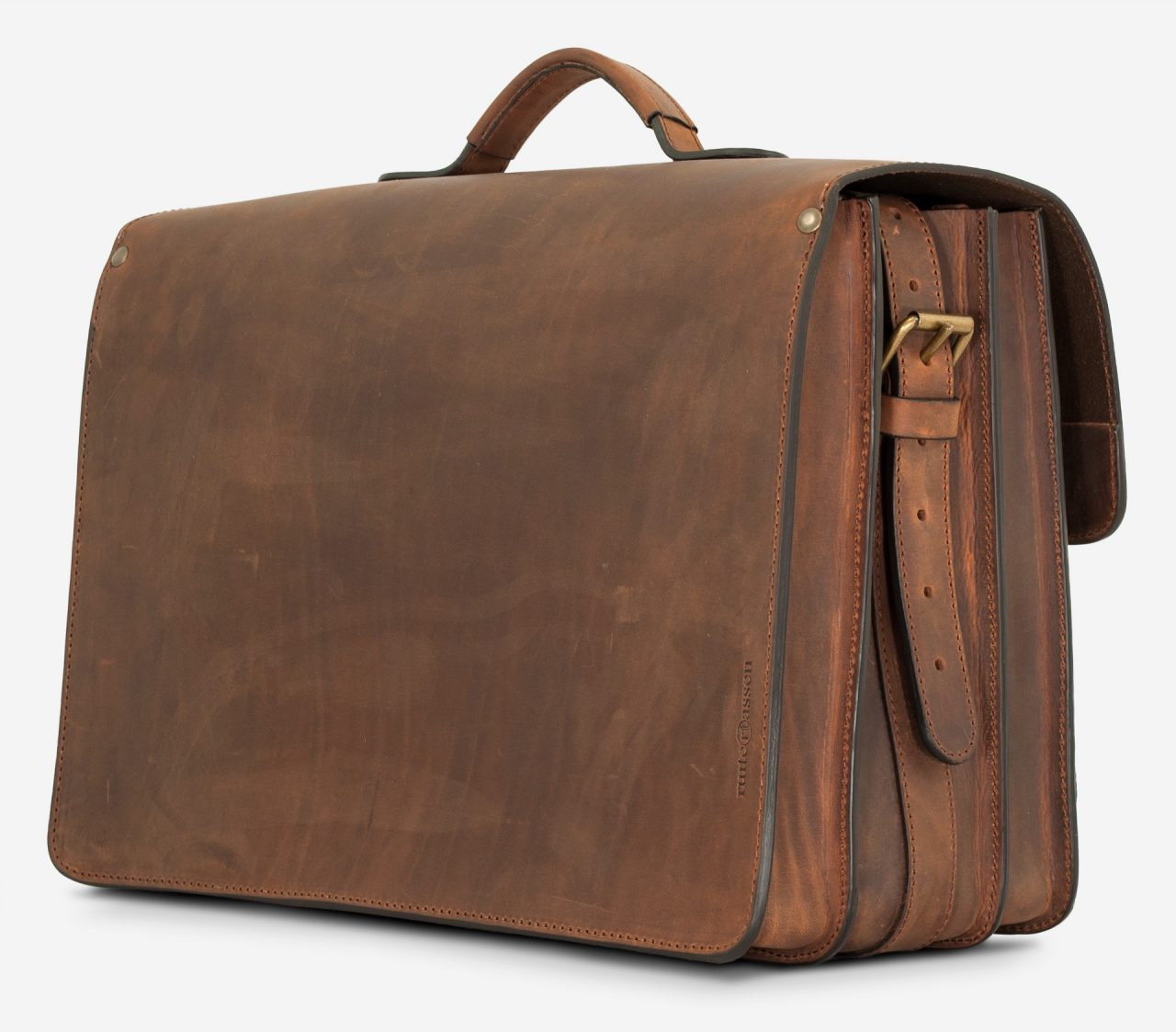 Back view of the Ruitertassen brown leather satchel briefcase.