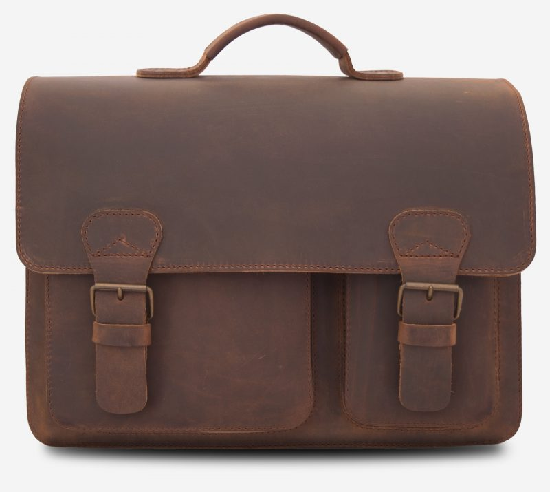 Front view of large brown leather satchel briefcase.
