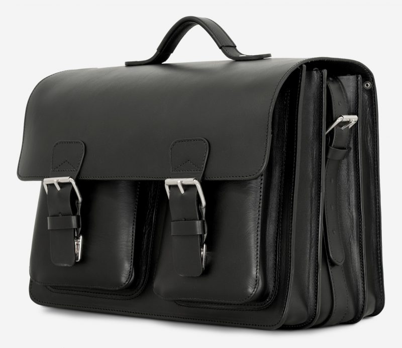 Side view of black leather laptop satchel bag with 3 gussets and symmetric front pockets 112358.