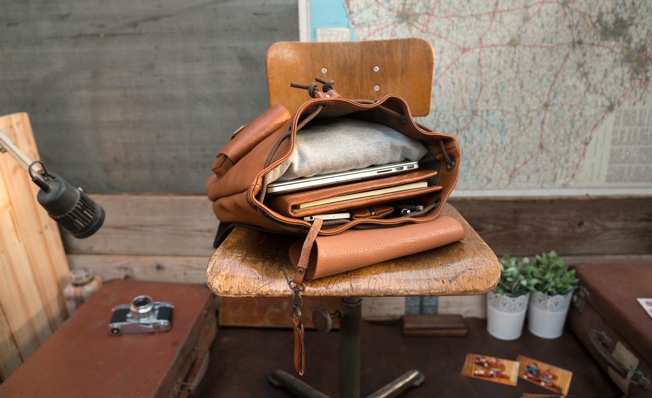 Top view of the elegant brown soft leather backpack.