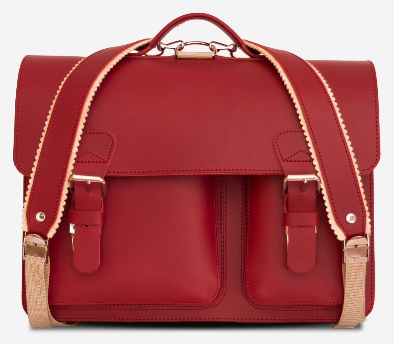 Front view of red leather satchel backpack with 2 gussets and asymmetric front pockets for women - 152237.