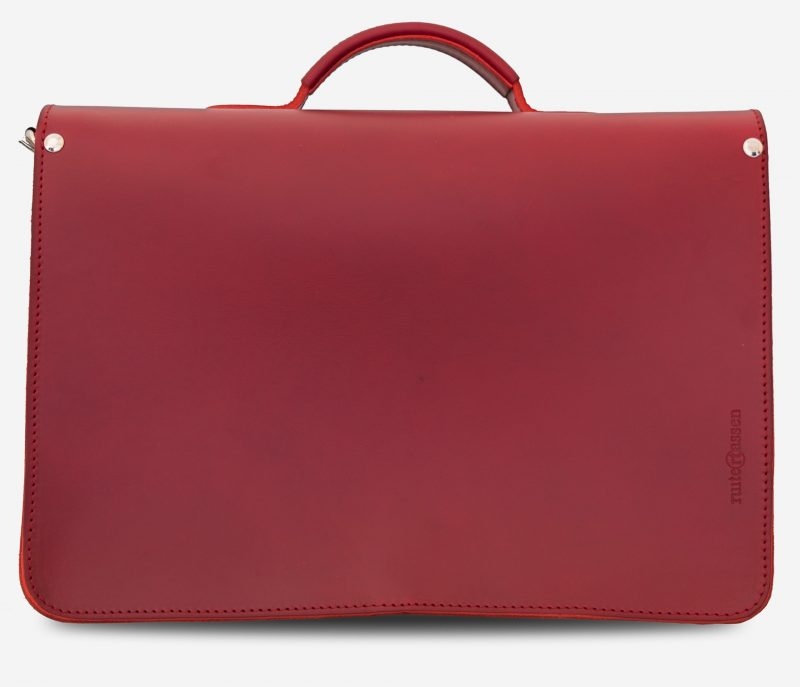 Back view of red leather satchel briefcase bag with 2 gussets and asymmetric front pockets for women - 152137.