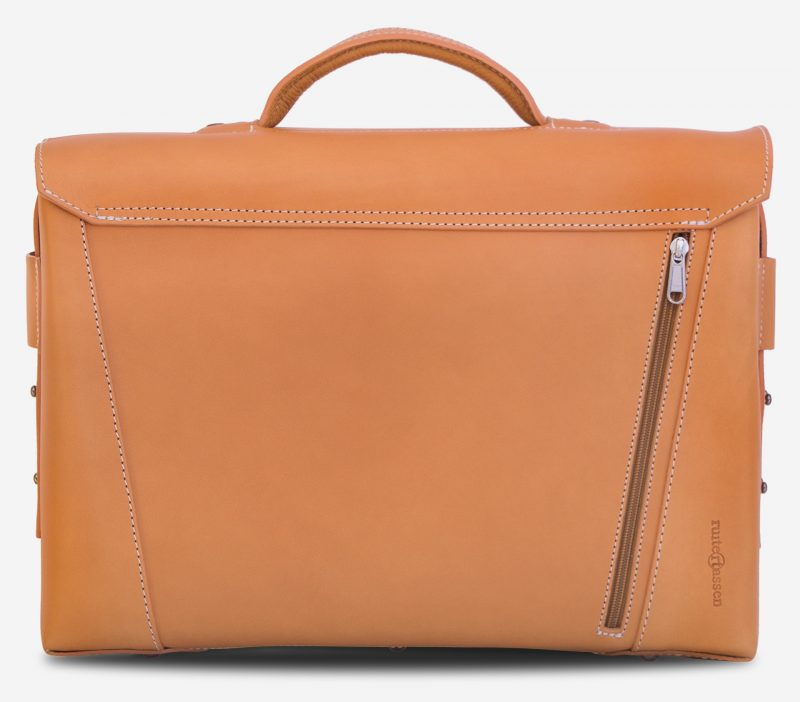 Back view of the large vegetable tanned leather briefcase bag with back pocket - 102178.