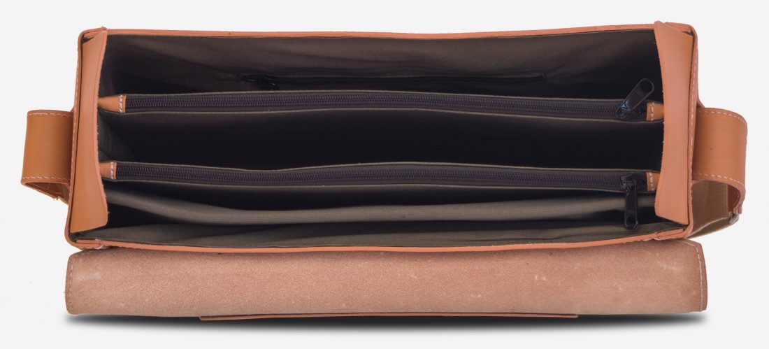 Inside view of the large vegetable tanned leather briefcase bag with laptop pocket - 102178.