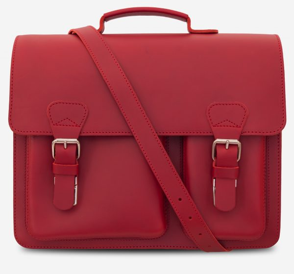 Front view of red leather satchel briefcase bag with 2 gussets and asymmetric front pockets for women - 152137.