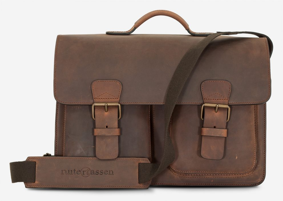 Large brown leather satchel briefcase with 3 compartments and laptop pocket.
