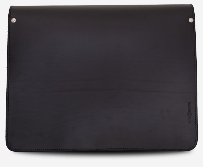 Back view of black leather messenger bag with 2 compartments and asymmetric front pockets - 112537.