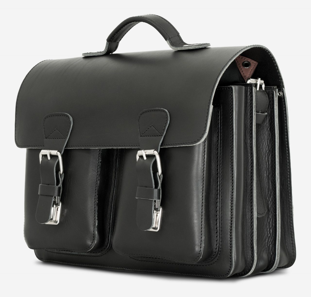 Side view of large black leather briefcase with 3 compartments and asymmetric front pockets 112142.