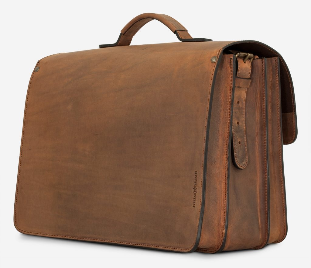 Back view of large brown leather satchel briefcase 732342.