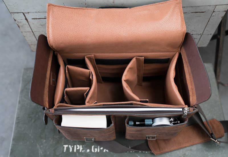Top view of the large brown leather camera bag.