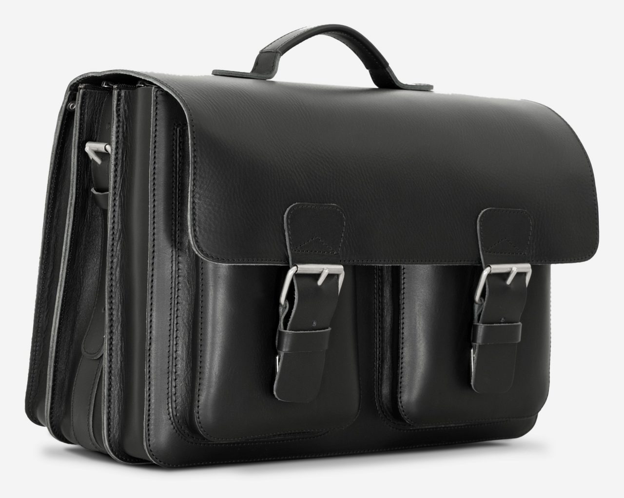 Side view of large black leather briefcase with 3 compartments and symmetric front pockets 112158.