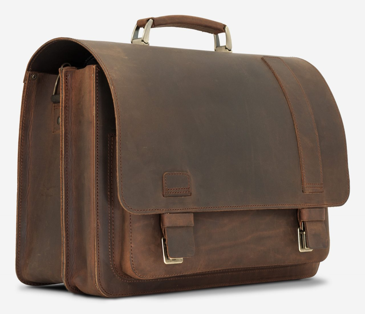 Side view of the vegetable-tanned brown leather satchel briefcase for doctors.