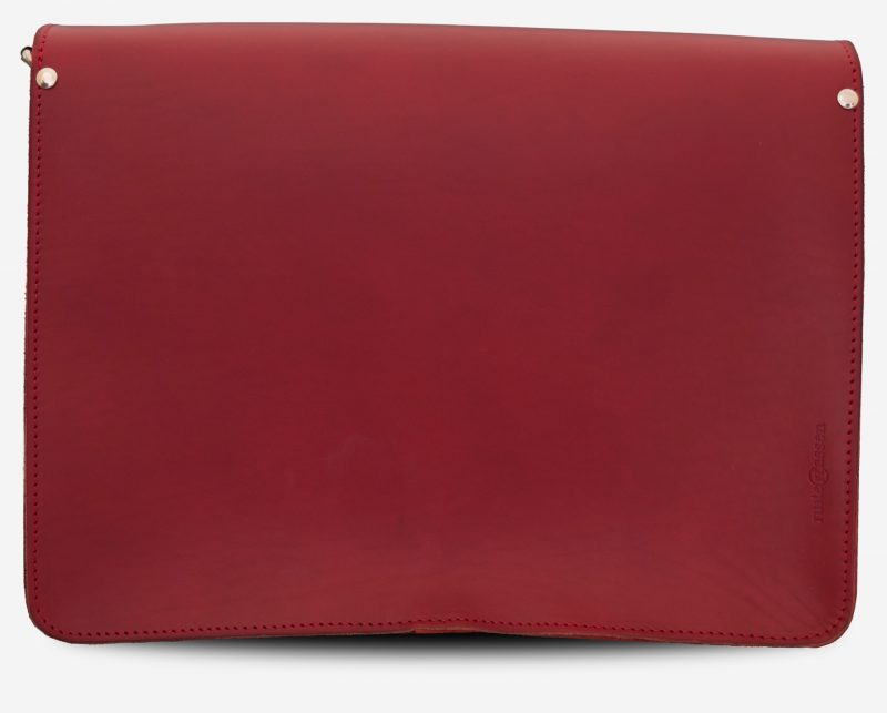 Back view of large red leather messenger bag with 2 gussets and asymmetric front pockets for women - 152537.
