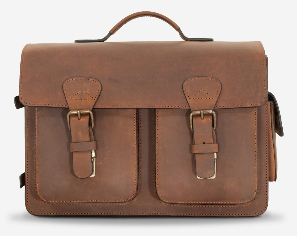 Front view of the large brown leather camera bag.