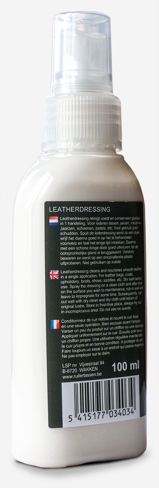 Spray conditioner for leather bags.