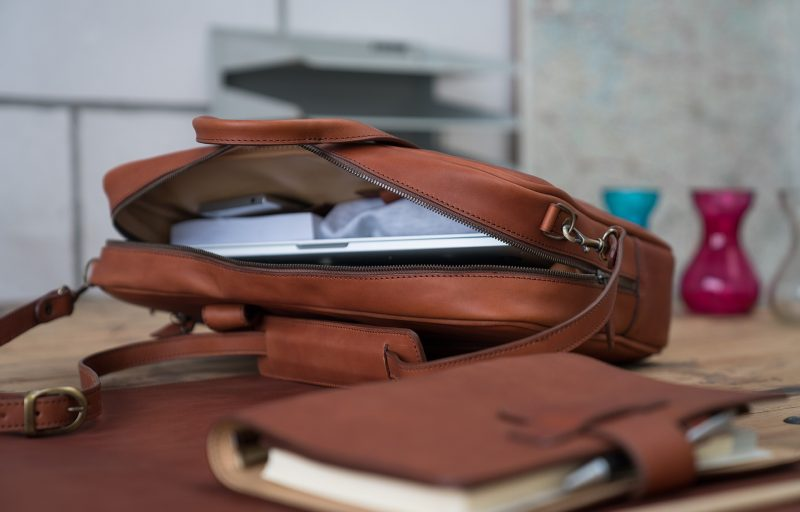 Inside the luxury brown vegetable-tanned leather briefcase for men.