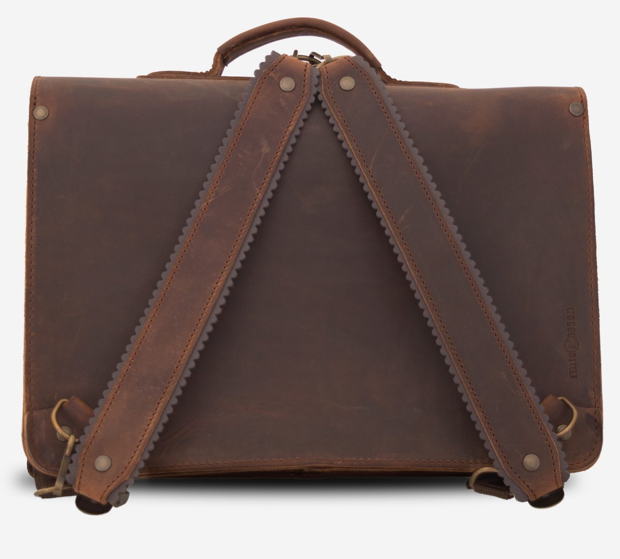 Back view of brown leather satchel backpack for adults fitted with shoulder straps.