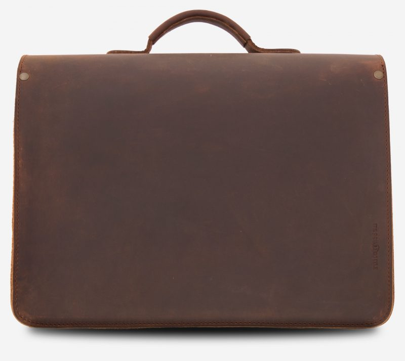 Back view of the large brown leather satchel briefcase with Ruitertassen logo.