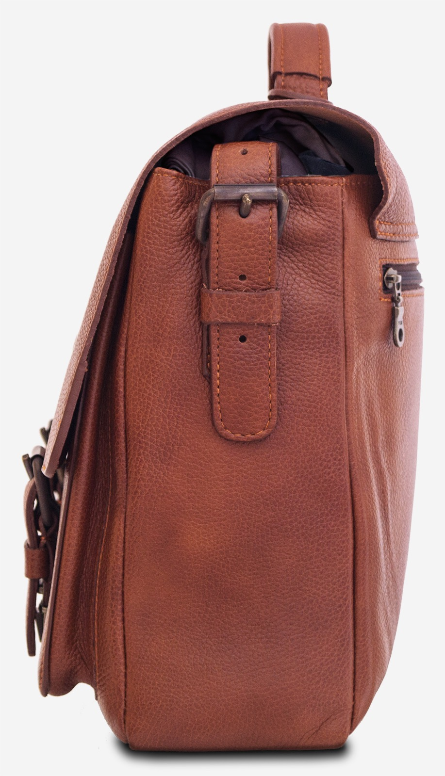 "Side view of the 13"" soft leather satchel briefcase."