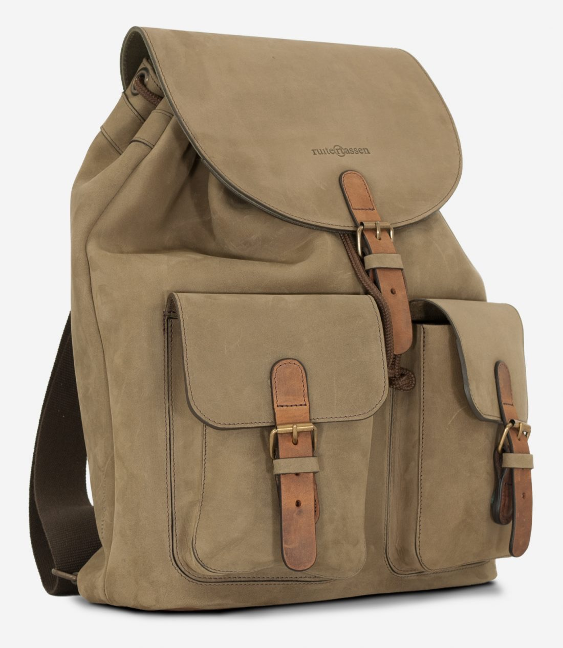 Side view of the handmade soft leather backpack.