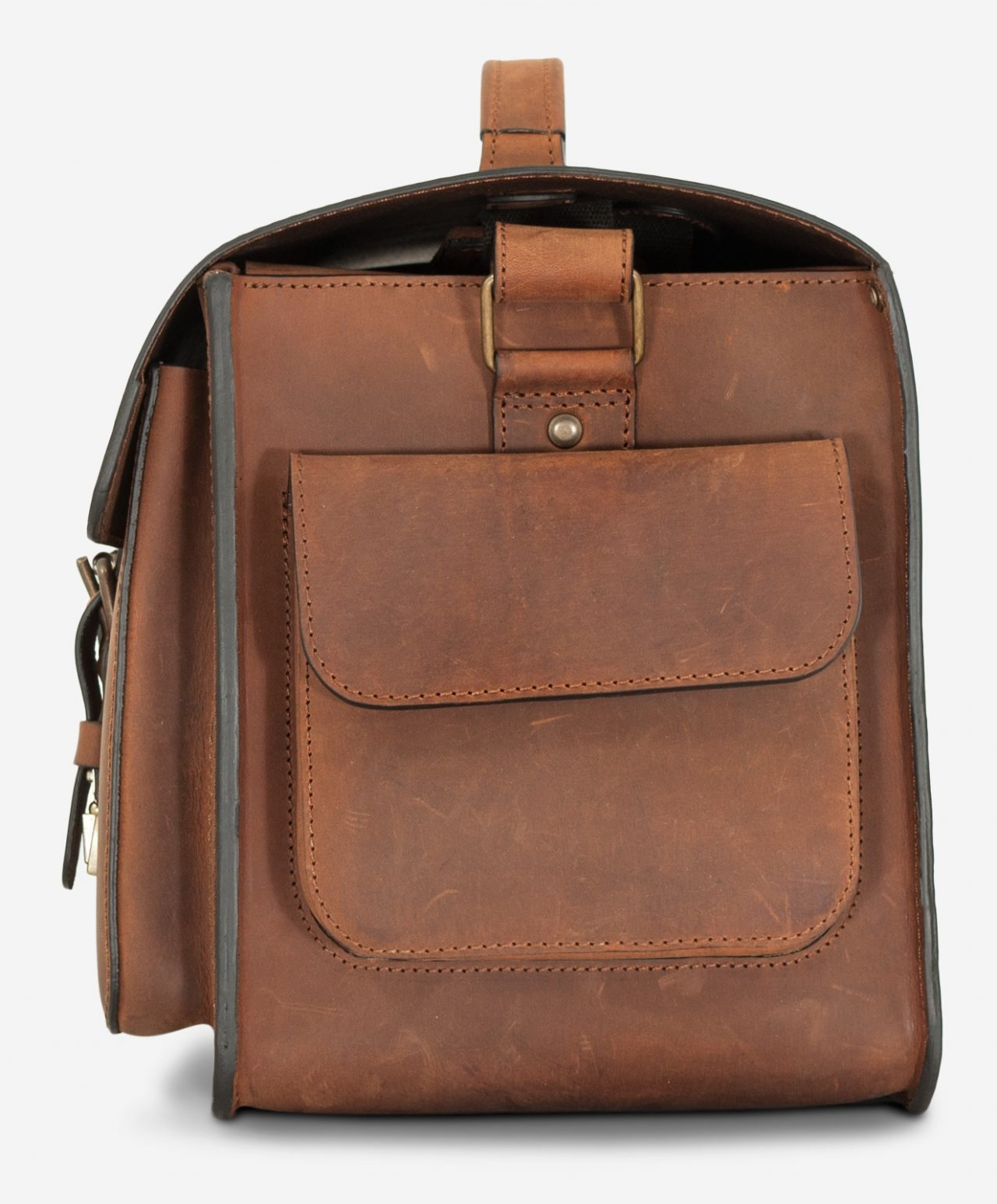 Side view of the large brown leather camera bag.
