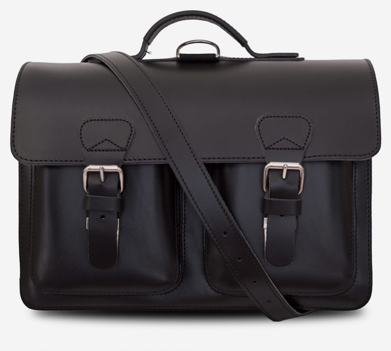 Front view of black leather satchel backpack for adults with 2 gussets and symmetric front pockets 112233.