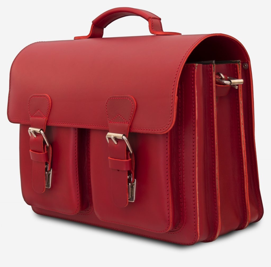 Side view of red leather satchel briefcase bag with 3 gussets and symmetric front pockets for women - 152139.