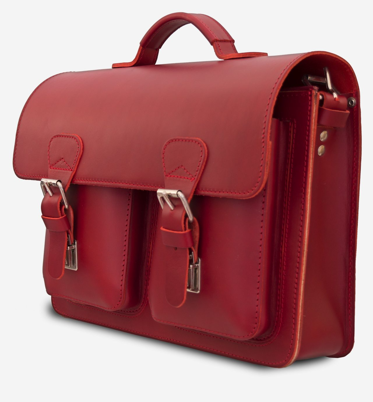 Side view of red leather briefcase bag with 1 compartment for women - 152131.