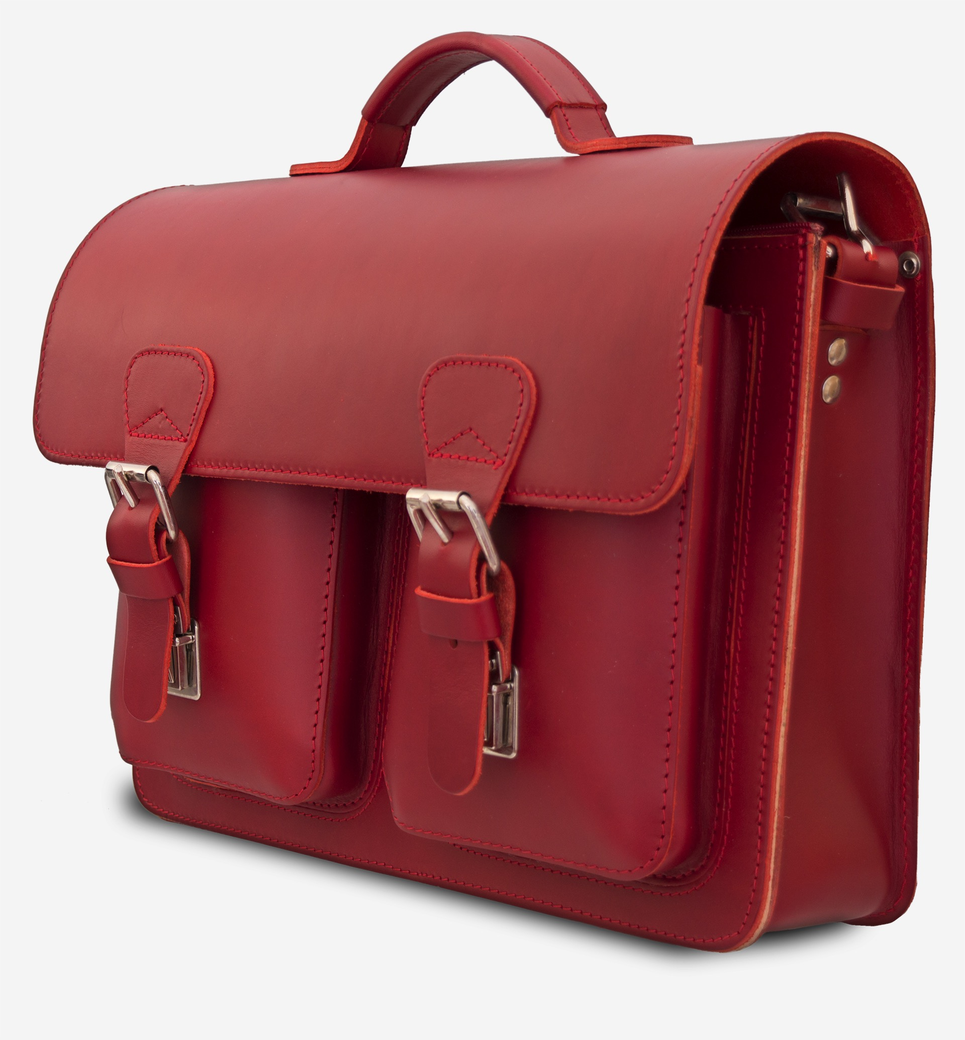 Side View Of Red Leather Briefcase Bag With 1 Compartment For Women 152131