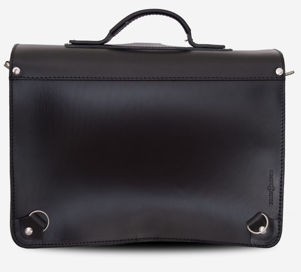 Back view of black leather satchel backpack for adults with 2 gussets and symmetric front pockets 112233.