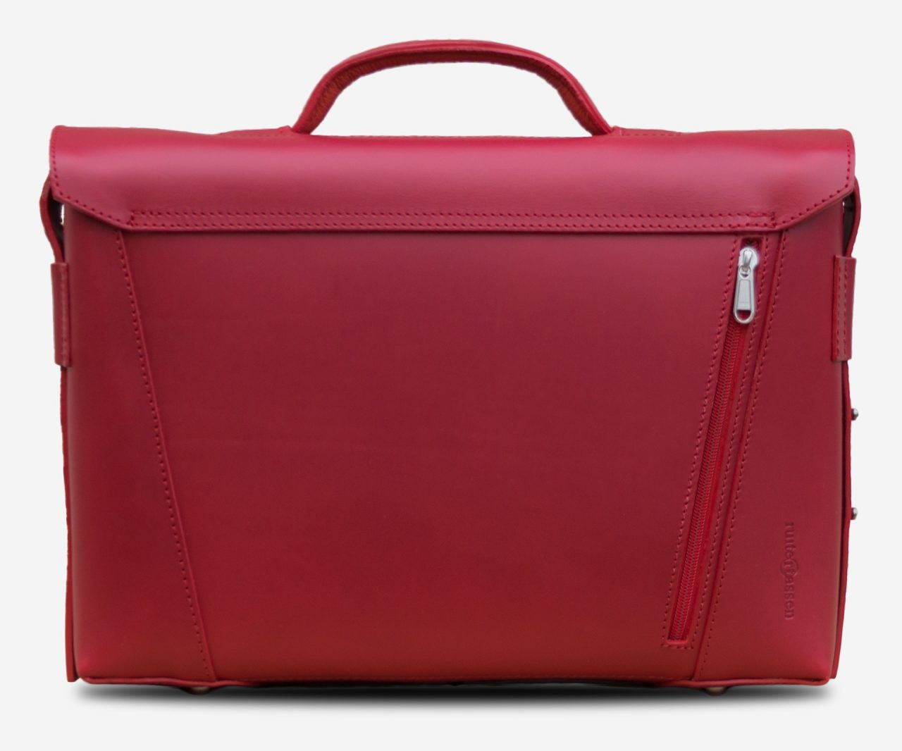 Back view of the elegant red vegetable-tanned leather briefcase bag for women with back pocket.