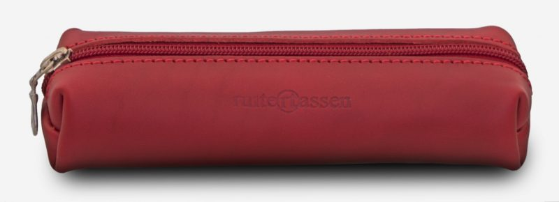 Front view of red leather pencil bag - 150006.