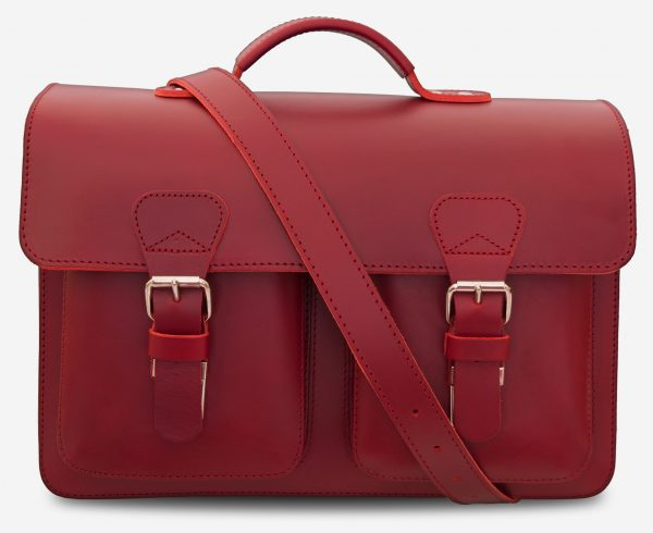 Front view of red leather satchel briefcase bag with 2 gussets for women - 152133.