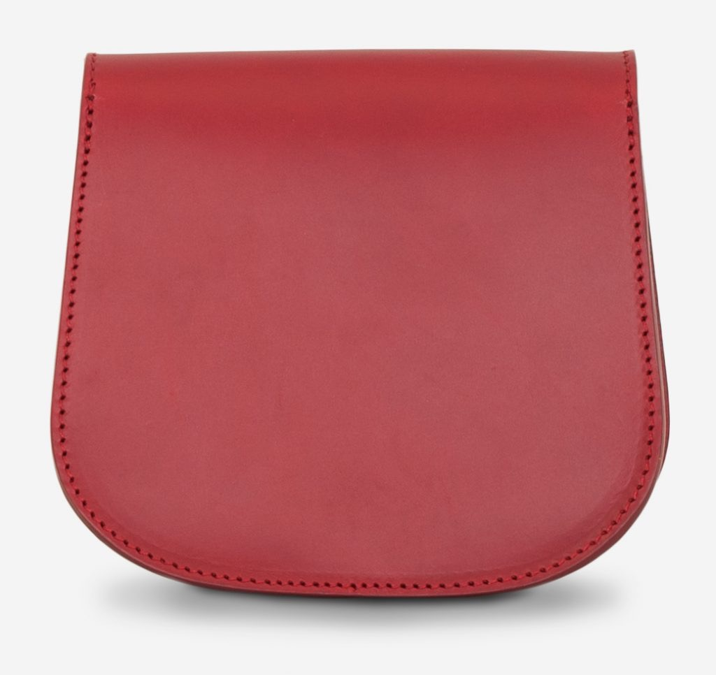 Back view of the small red full-grain leather shoulder bag for women.