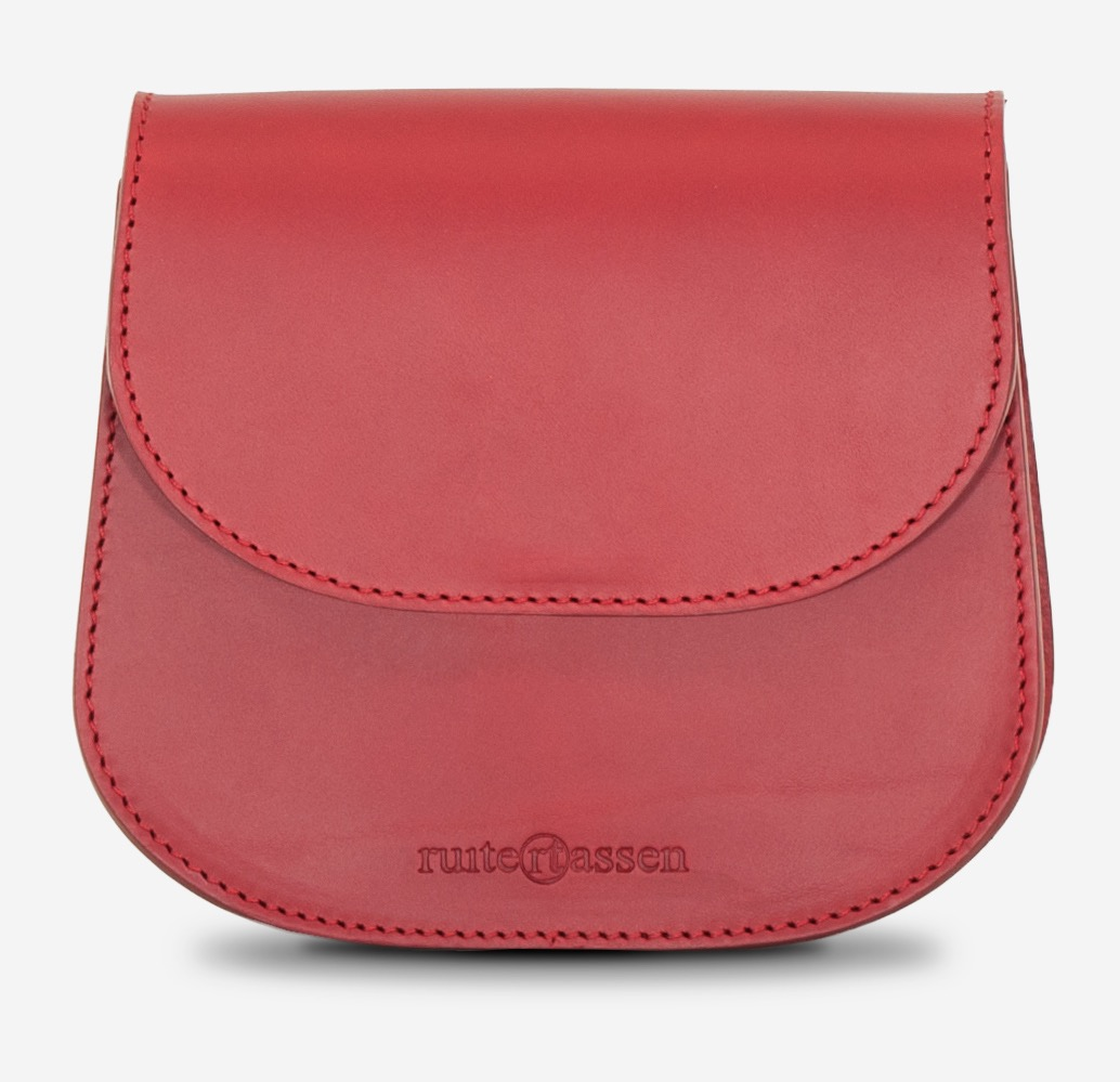 Front view of the small red full-grain leather shoulder bag for women.