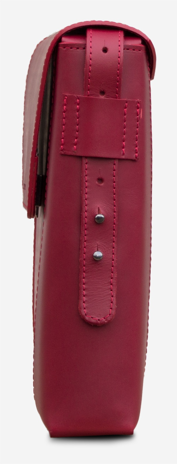 Side view of the slim red vegetable-tanned leather briefcase bag for women.