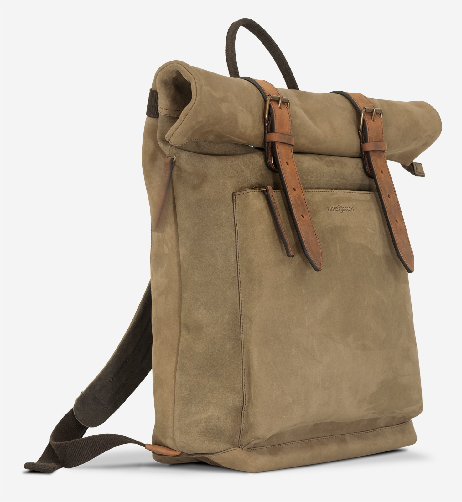 Side view of the roll-top soft leather backpack.