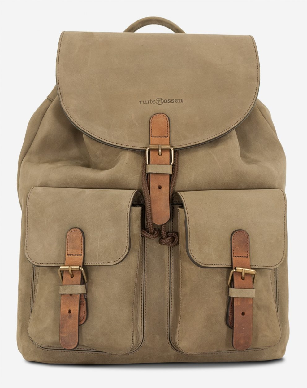 Front view of the handmade soft leather backpack.