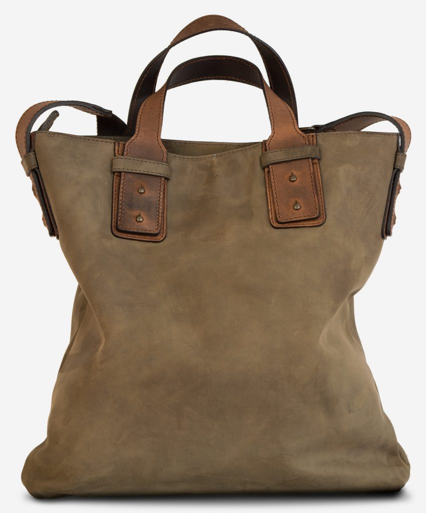 Back of the handmade leather handbag for men.