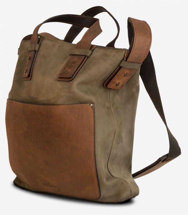 Side view of the handmade leather handbag for men.