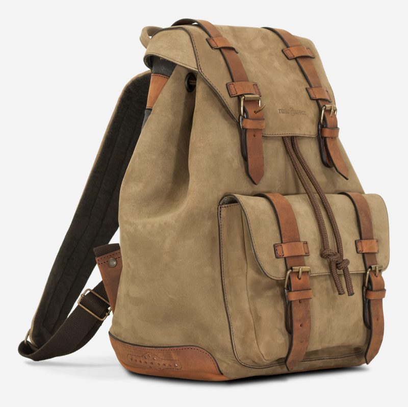 Side view of the beautiful soft leather backpack.