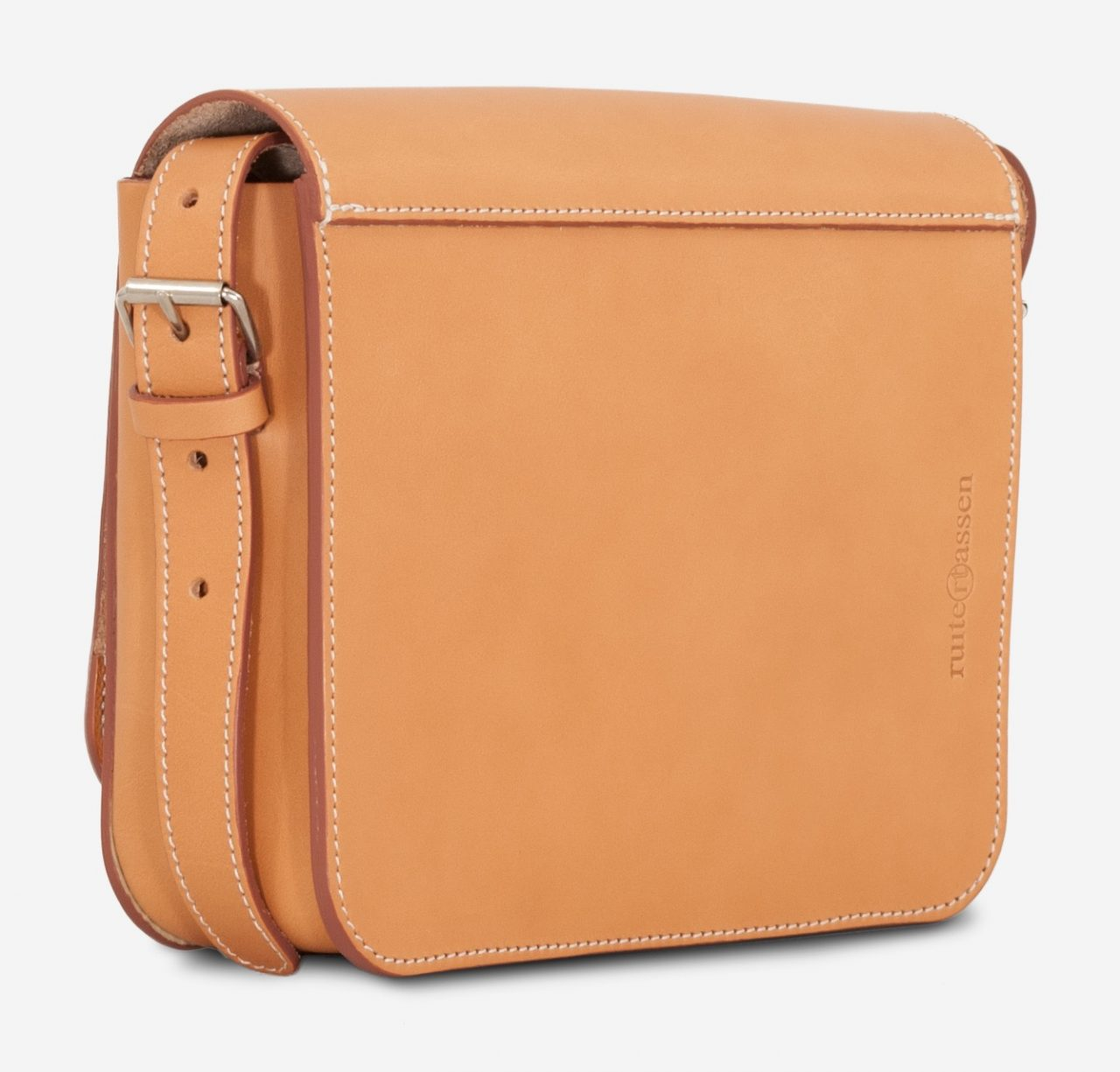 Back of the small vegetable tanned leather crossbody bag for women.