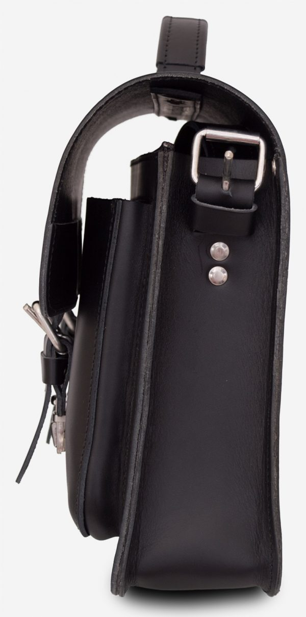 Side view of black leather briefcase with one compartment 112103.