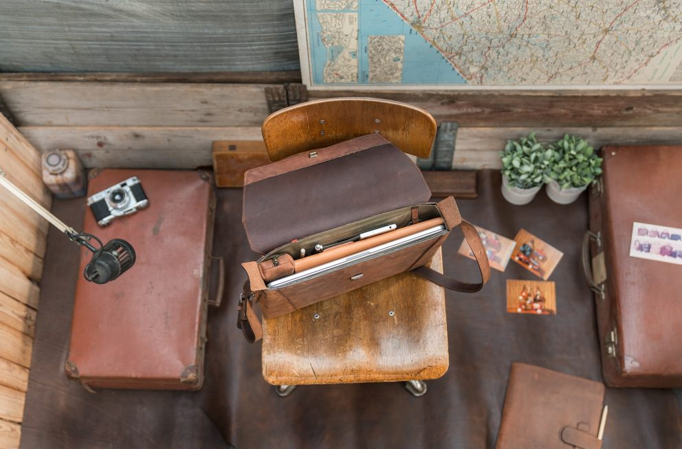 Top view of the slim vegetable-tanned brown leather briefcase bag.