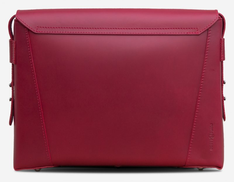 Back view of the slim red vegetable-tanned leather briefcase bag for women.