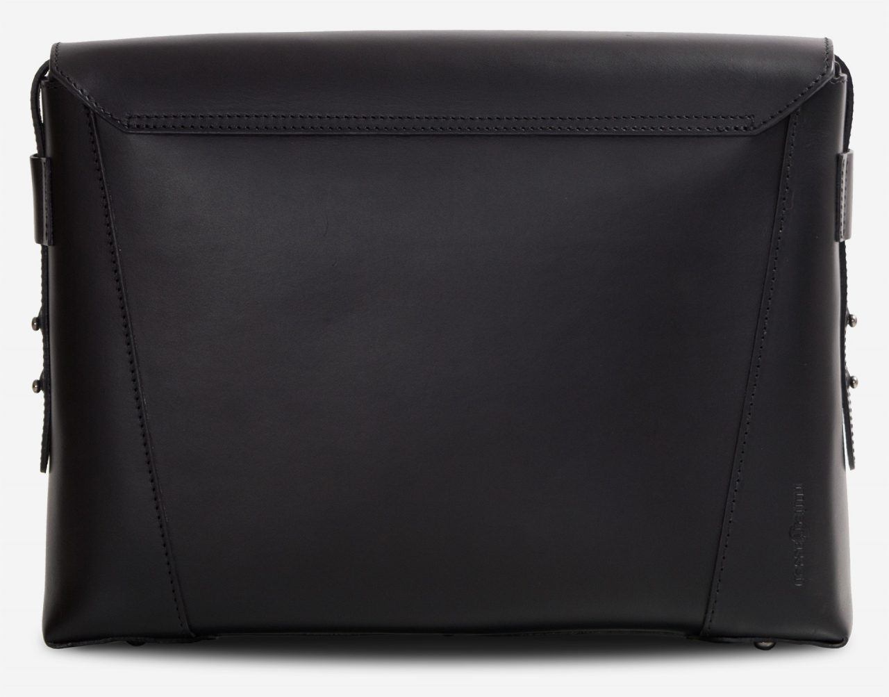 Back view of the slim vegetable-tanned black leather briefcase bag.
