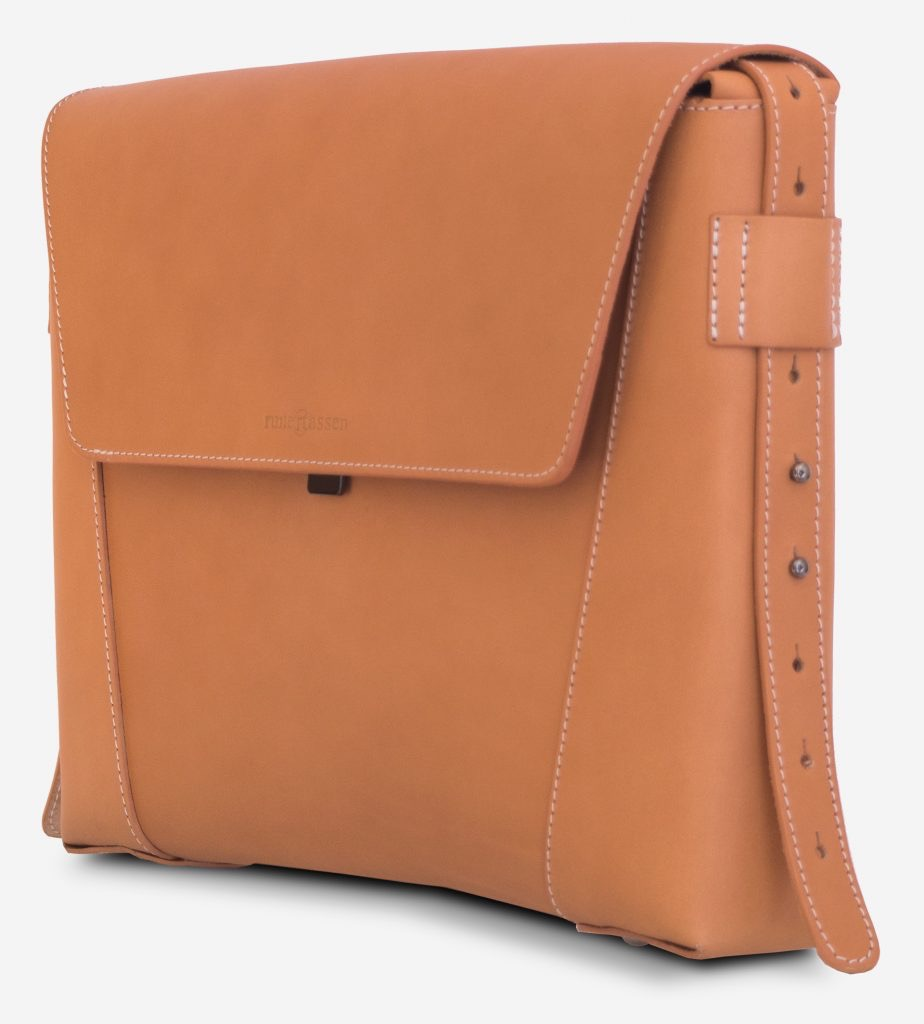 Side view of the vegetable tanned leather slim briefcase bag - 102176.