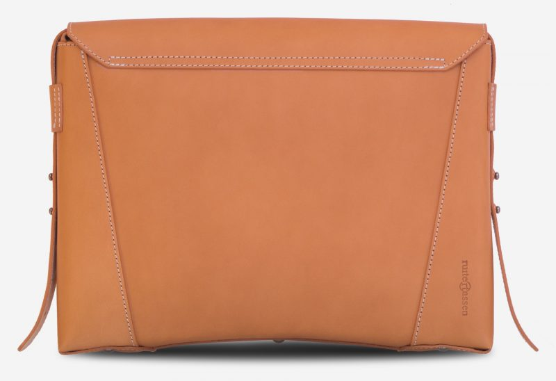 Back view of the vegetable tanned leather slim briefcase bag - 102176.